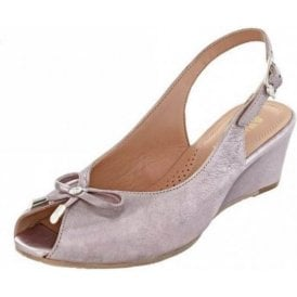 Oxley Bamboo Metallic Leather Wedge Sling Back