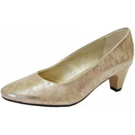 Jane Metallic Reptile Court Shoe