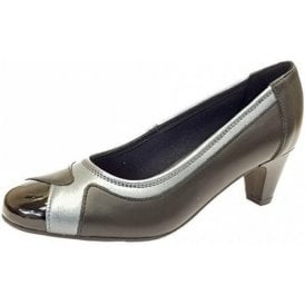 Jewel Black Leather Combi Court Shoe