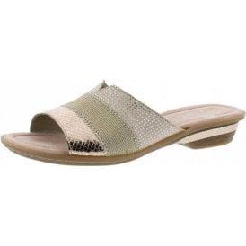 63425-90 Rose Gold / Beige Combination Mule Sandal