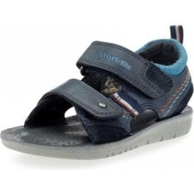 SR Soft Caleb Navy Leather Boy's Velcro Sandal