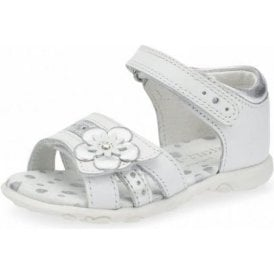 Phoebe White / Silver Leather Girl's Sandal