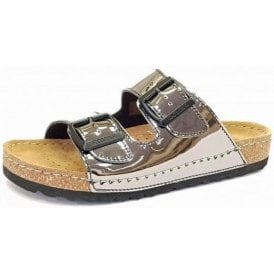 Ontario 01 Silver Patent Buckle Sandal