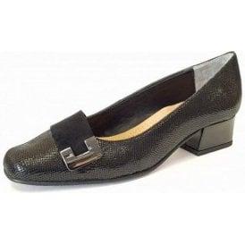 Duchess Black Reptile Print / Suede Court Shoe