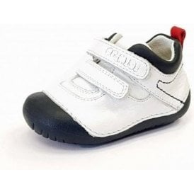 PLE 14004 White / Navy Leather Boy's Velcro First Shoe
