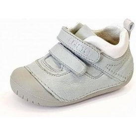 PLE 14004 Pale Blue / White Leather Boy's Velcro First Shoe