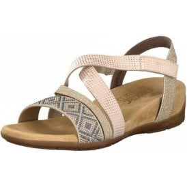 61565-60 Beige Combination Sandal with Glitter Trim