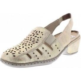 47190-62 Beige / Metallic Leather Shoe