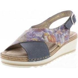R6051-12 Blue Multi Leather Wedge Sandal