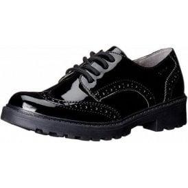 J Casey Black Patent Brogue Girls School Shoe