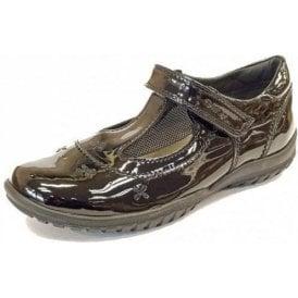 J Shadow A T-Bar Black Patent Girls School Shoe