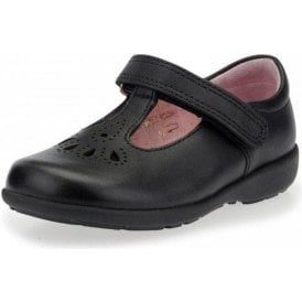 Daisy May Black Leather T-Bar Girl's Shoe