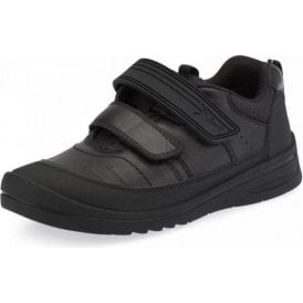 Bolt Black Leather Boys Velcro School Shoe