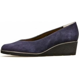 Ariah Navy Midnight Suede Wedge Shoe