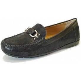 Bliss Black Print Loafer Moccasin Shoe