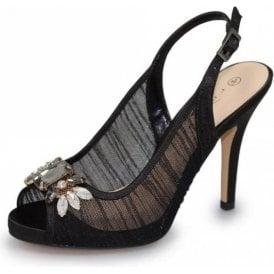 Amalfi FLR461 Black Mesh Sling Back Peep Toe