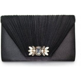 Amalfi ZLR461 Black Satin Clutch Handbag