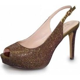 Jaq Bronze Glitter Sling Back Peep Toe Shoe