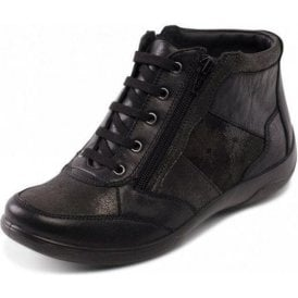 Piccolo Black Combi Leather Lace / Zip Ankle Boot