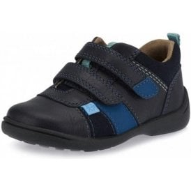Grip Navy Leather Boys Shoe
