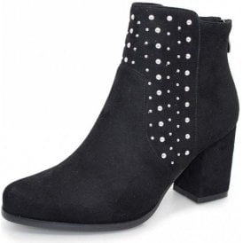 Marnie GLC653 Black Synthetic Suede Ladies Ankle Boot