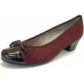 63606-75 Black Crinkle Patent Toe Cap With Wine Nubuck Pump Shoe