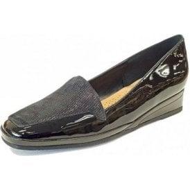 Verona III Black Patent / Beetle Print Wedge Shoe