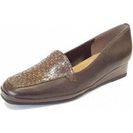 Verona III Brown Leather / Bronze Chequer Print Wedge Shoe