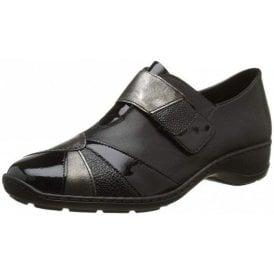 58361-00 Black Leather Combi Velcro Shoe