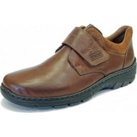 19962-25 Brown Leather Mens Velcro Shoe