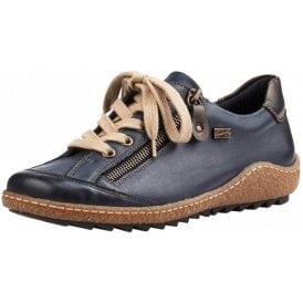 R4703-14 Blue Leather Water Resistant Lace Up / Zip Shoe