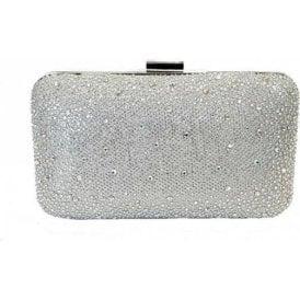 Lule Silver Microfibre & Diamante Clutch Bag