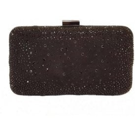 Lule Black Microfibre & Diamante Clutch Bag