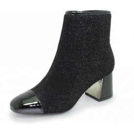 Duval GLE069 Black Patent / Glitter Ladies Ankle Boot