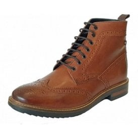 Hopkins Burnished Tan Leather Brogue Boot