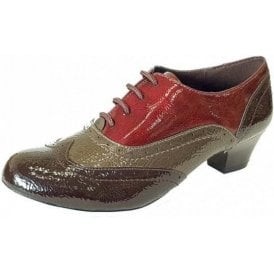 Platte Brown / Multi Crinkle Patent Lace-Up Shoes