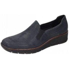 53766-17 Navy Print Ladies Slip On Shoe