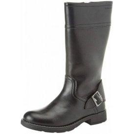 J Sofia D J84D3D Black Leather Girls Boot