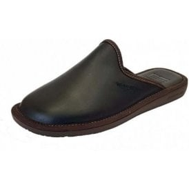 Top Line 131 Ohio Black Leather Mule Mens Slipper
