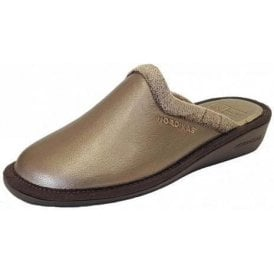 234 Galaxy Onyx Pewter Leather Mule Ladies Slipper