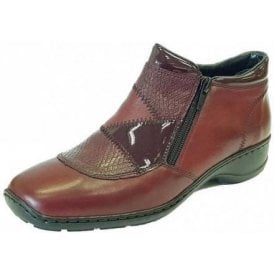 58387-35 Wine Leather Combo Twin Zip Ankle Boot