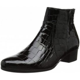 Delaware 95.600.97 Black Patent Croc Ankle Boot