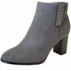 Jenolan Grey / Diamante Heeled Ankle Boots