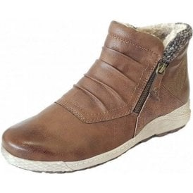 Relife Holt Tan Multi Zip-Up Ankle Boots