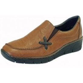 53783-22 Tan Leather Ladies Slip On Shoe