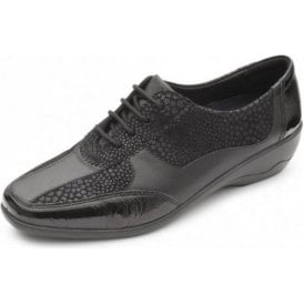 Quartz Black Leather Combi Lace Shoe