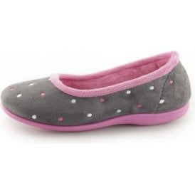 Isla Grey / Fushia Ballerina Pump Slipper