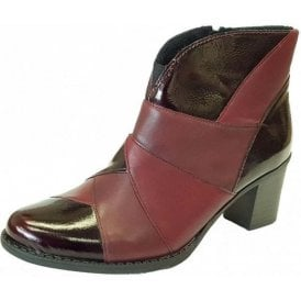 Z7676-35 Burgundy Patent / Leather Combo Ankle Boot