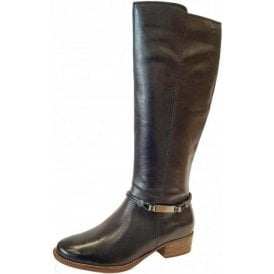 25509-21 Dark Navy Leather Long Legged Boot