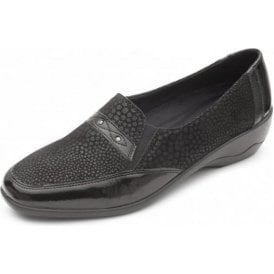 Opal Black Leather Combi Slip On Shoe